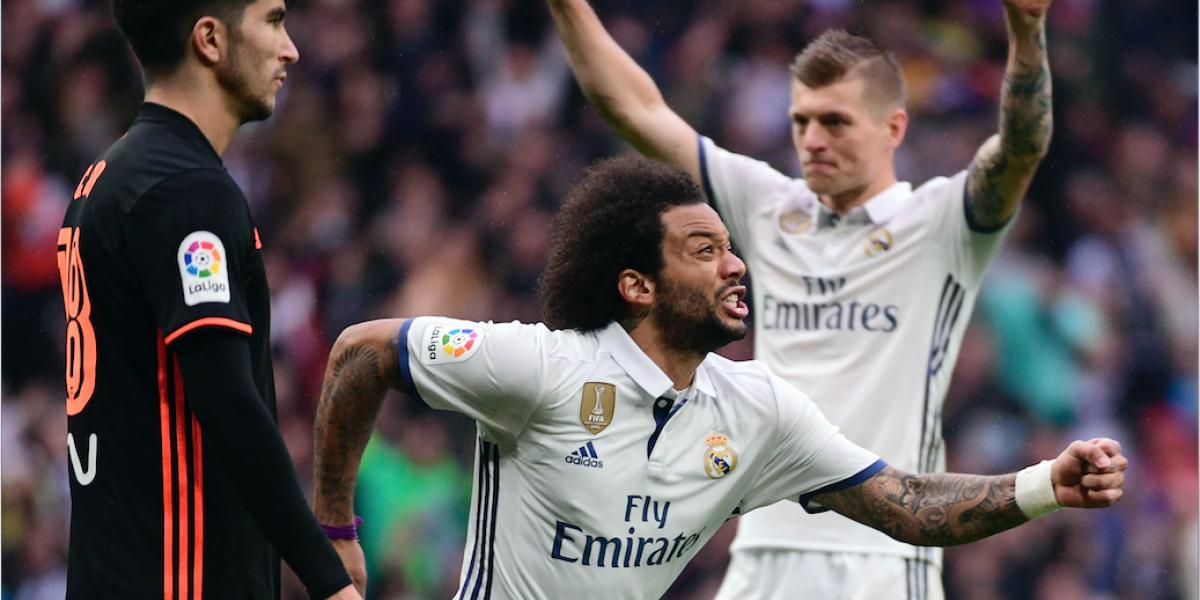 Marcelo salva al Real Madrid del empate ante el Valencia