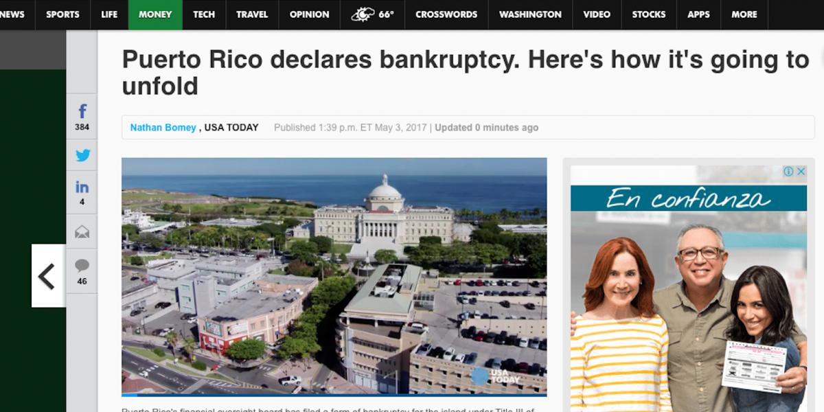 Bancarrota de Puerto Rico retumba en medios internacionales
