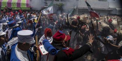 Representan Batalla de Puebla en Calimaya