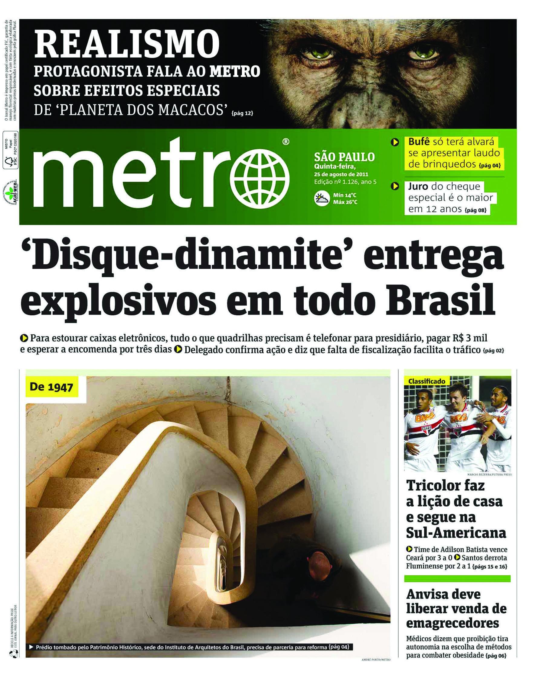 edi o do metro jornal s o paulo de 25 de agosto de 2011 reprodu o