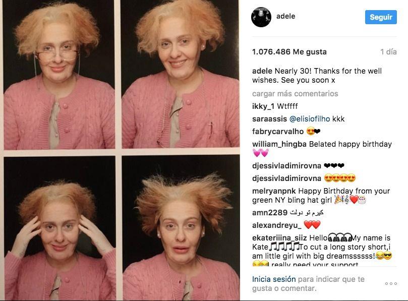 Adele comparte foto donde aparece con arugas y canas