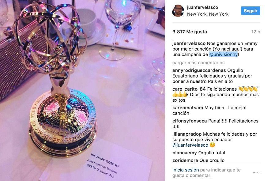 Juan Fernando Velasco, Emmy