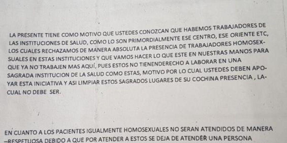 """""""Los homosexuales no tienen derecho a laborar en una sagrada institución de la salud"""""""