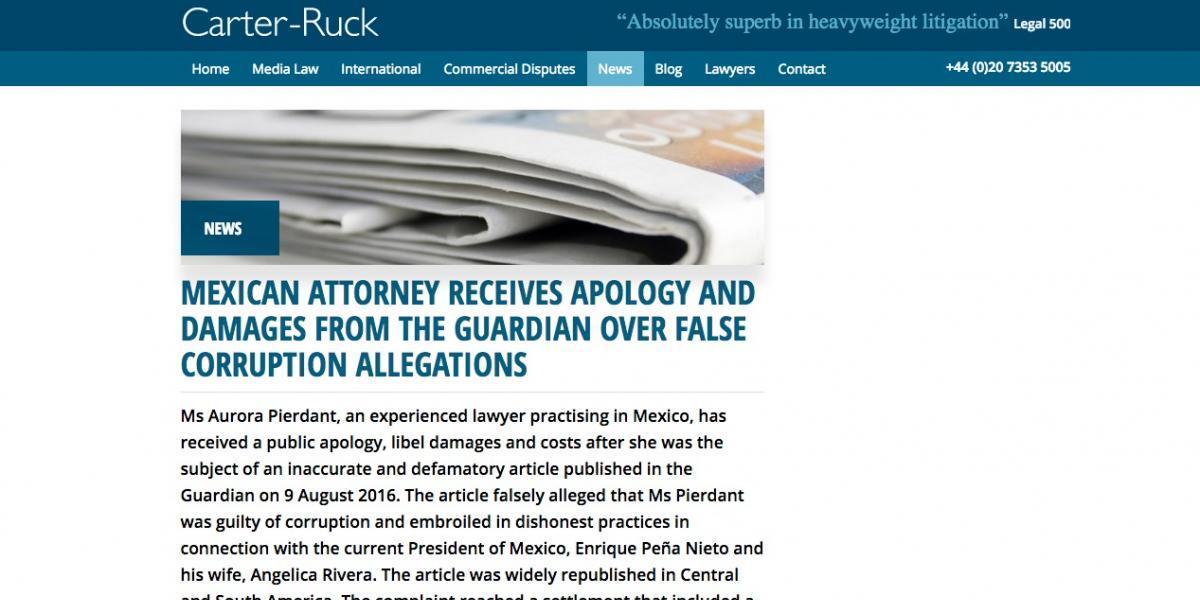 Abogada Aurora Pierdant analiza proceder contra The Guardian por difamación