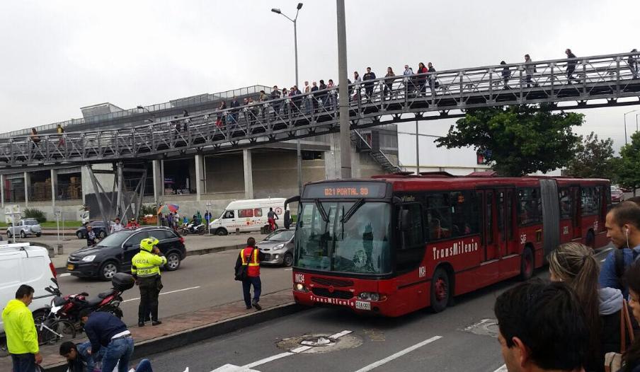 ¡Atención! Accidente en TransMilenio en la calle 80 dejó una persona herida