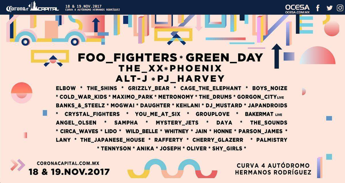 Foo Fighters y Green Day deslumbran en cartel de CC2017