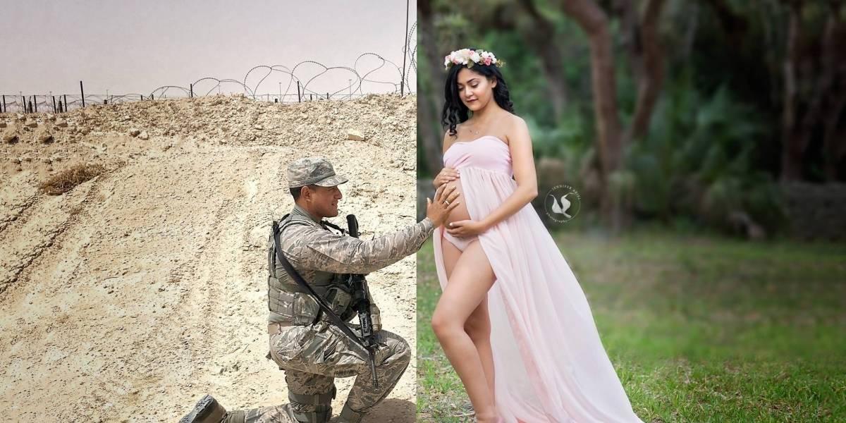 Fotografía reúne a soldado con su esposa embarazada