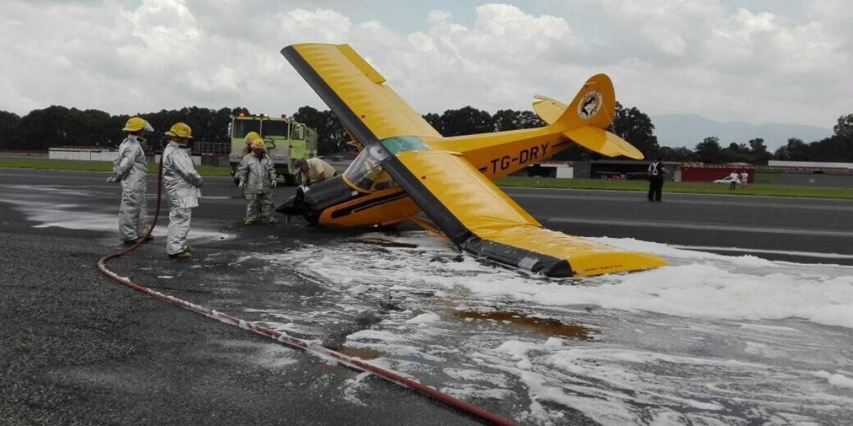 Avioneta se accidenta en el Aeropuerto La Aurora