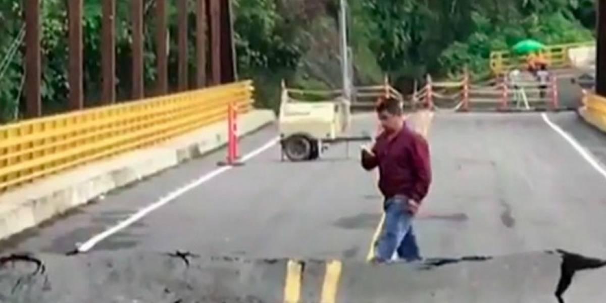 A punto de derrumbarse un puente que inauguraron hace dos meses