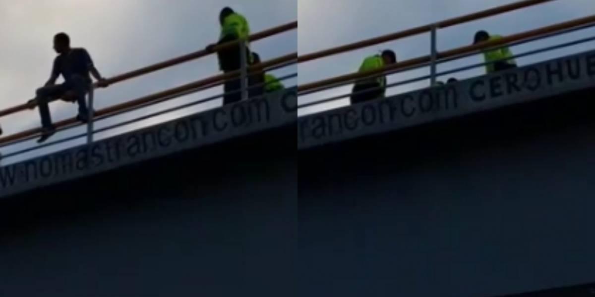 Video: Hombre estuvo a punto de lanzarse de un puente en el norte de Bogotá