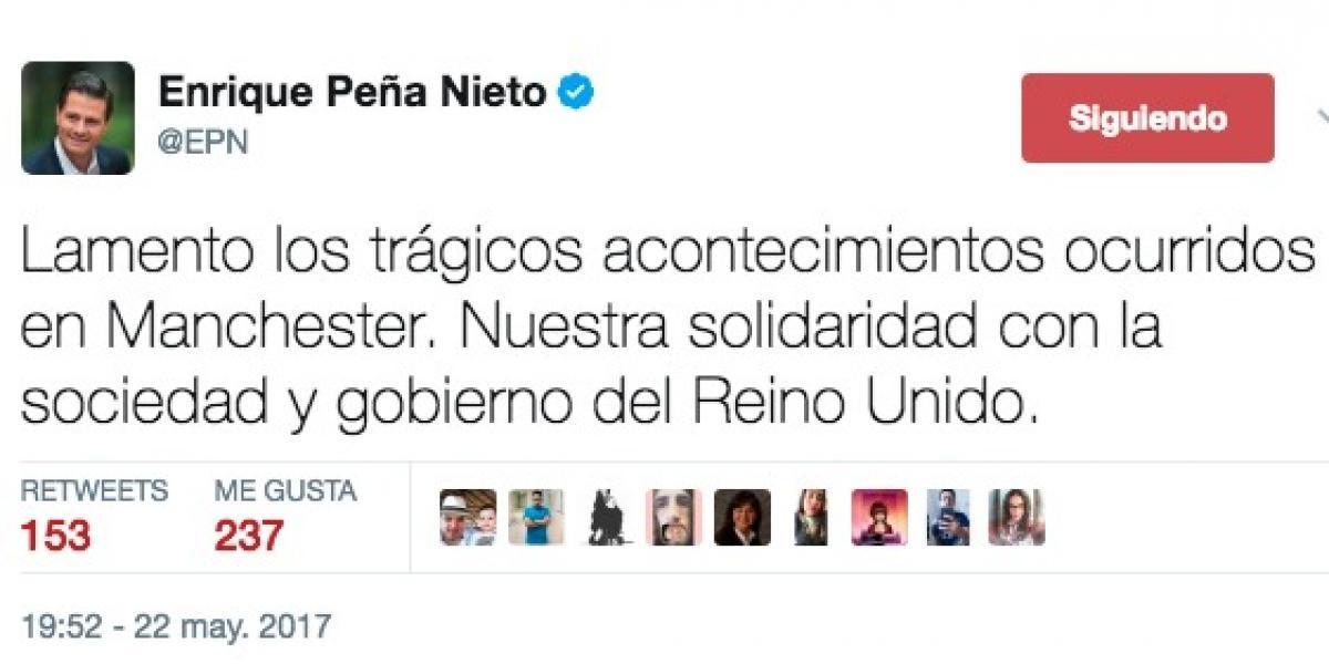 Peña Nieto lamenta explosiones tras show de Ariana Grande en Manchester