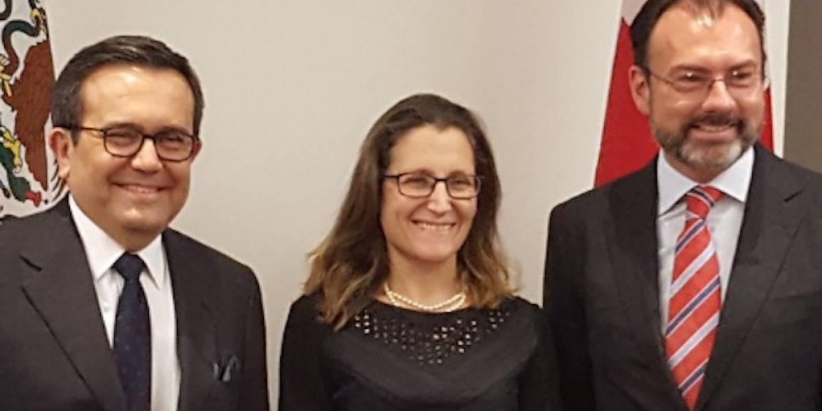 Canciller de Canadá discute sobre renegociación del TLCAN con Videgaray y Guajardo