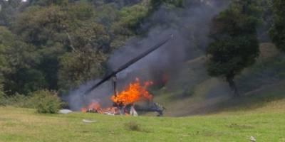 Se desploma helicóptero en la sierra de Veracruz; hay 3 heridos