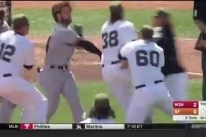VIDEO: ¡Se armó la bronca entre Nacionales y Gigantes!