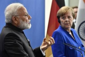 Narendra Modi y Angela Merkel