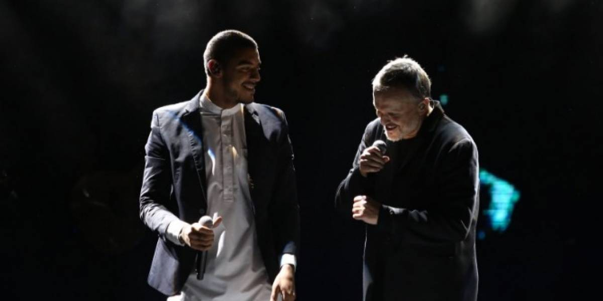 Apasionado beso entre Miguel Bosé y cantante colombiano
