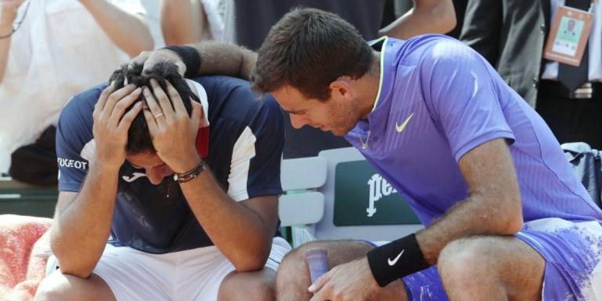 Del Potro avanzó de ronda en Roland Garros y tuvo emotivo gesto con su lesionado rival