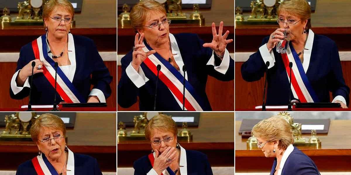 Cuenta Pública: las caras de la Presidenta Bachelet en su discurso