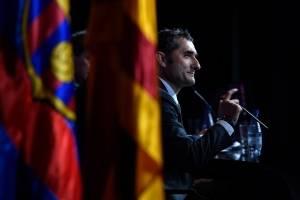 Ernesto Valverde presentado con el Barcelona