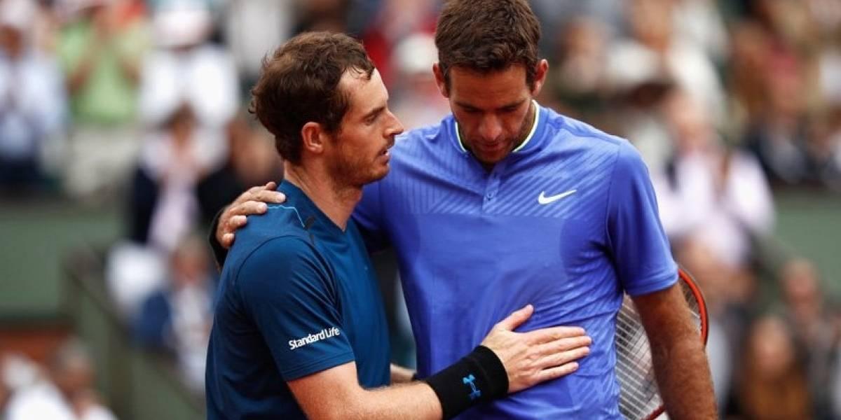 Del Potro cae con emoción ante Murray en lluviosa jornada de Roland Garros