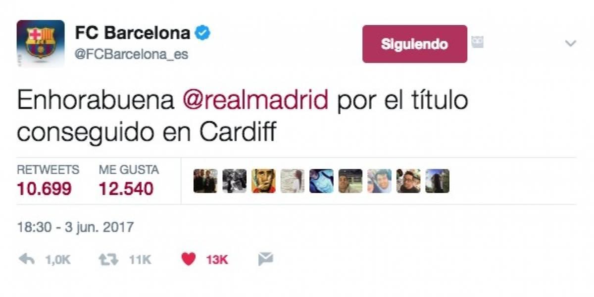 Para copiarlo: El Barça felicitó al Real Madrid por su duodécima Champions
