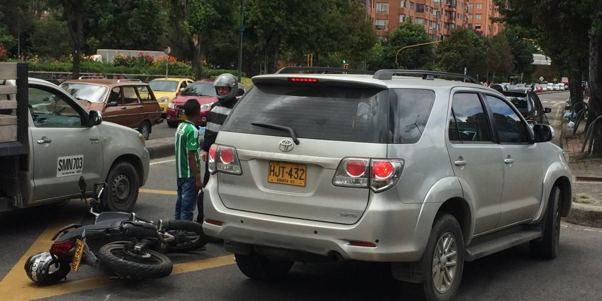 Accidente en el norte de Bogotá genera caos vehicular