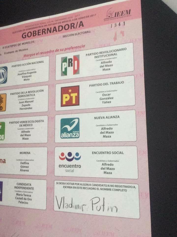 Hubo quienes quisieron votar por Vladimir Putin, presidente de Rusia Foto: Facebook