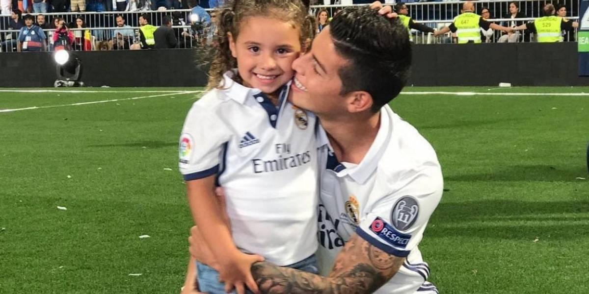 Así fue la celebración de James y Salomé en el Santiago Bernabéu