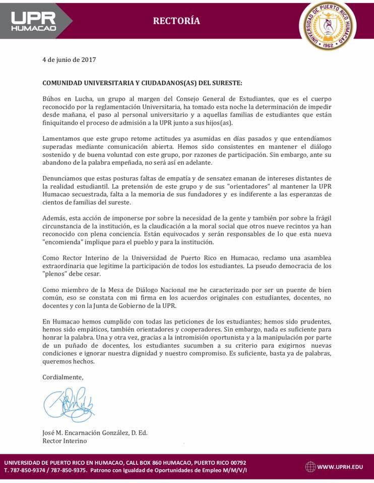 Carta UPR Humacao