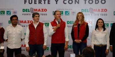 Priistas celebran el triunfo de el priista Alfredo del Mazo