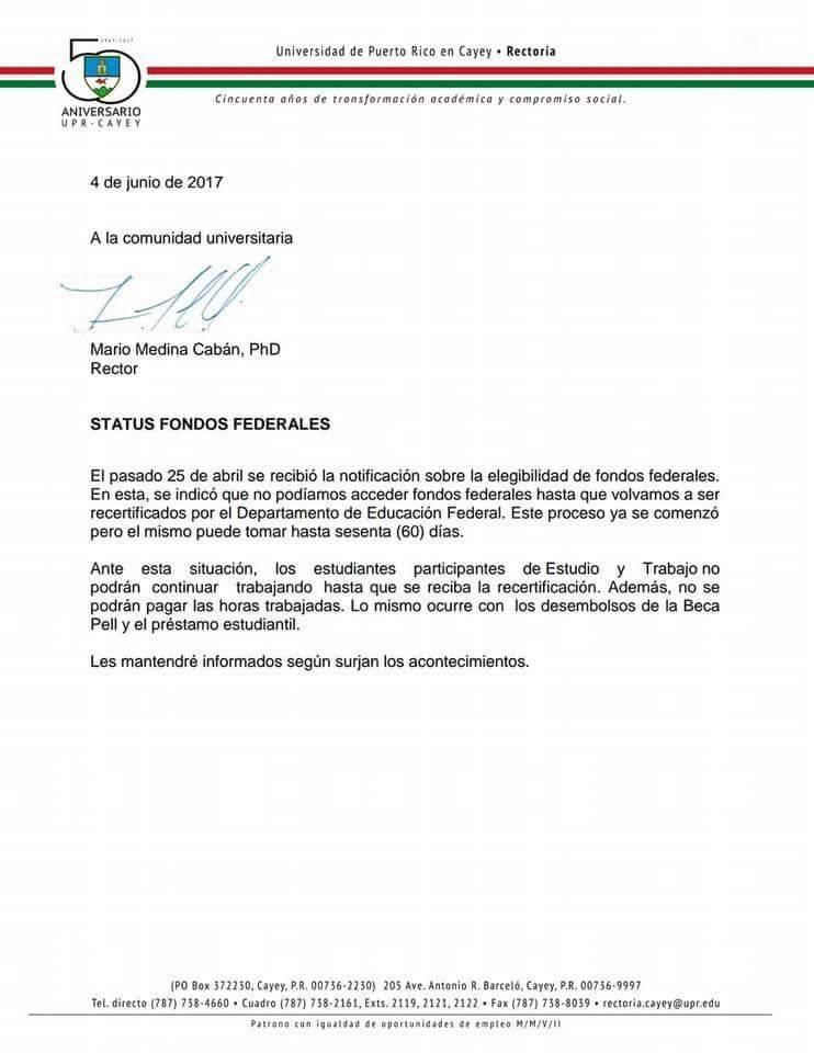 Carta UPR Cayey