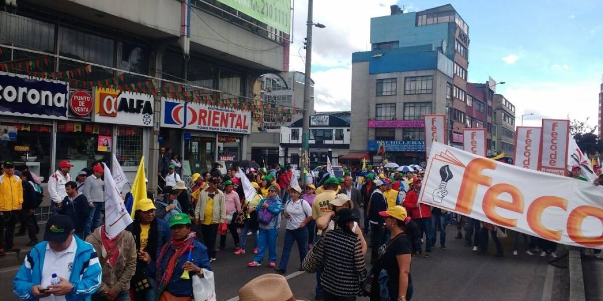 Así van las marchas de los profesores en Bogotá