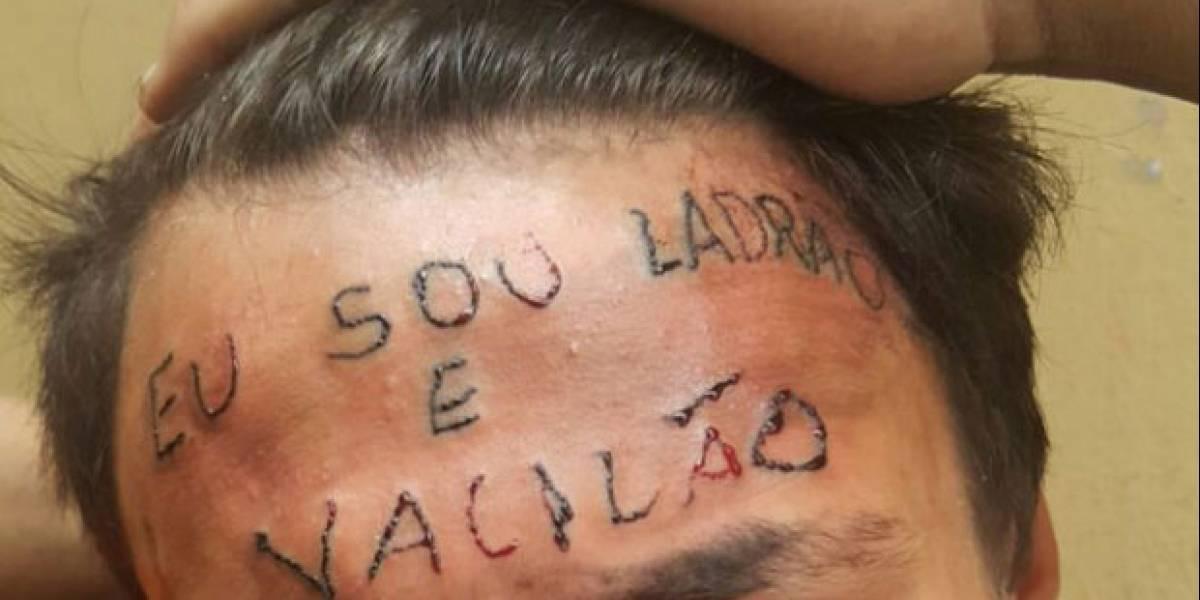 Jovem tatuado na testa é preso por furto em mercado