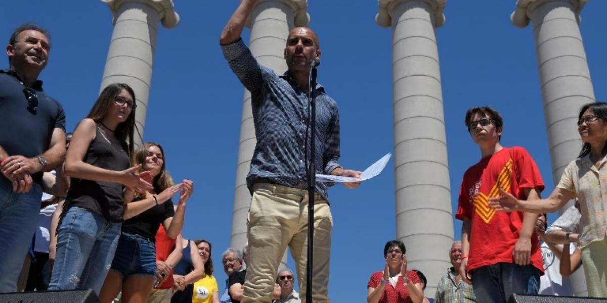 Pep Guardiola sacó a relucir su lado más político al participar de acto independentista catalán