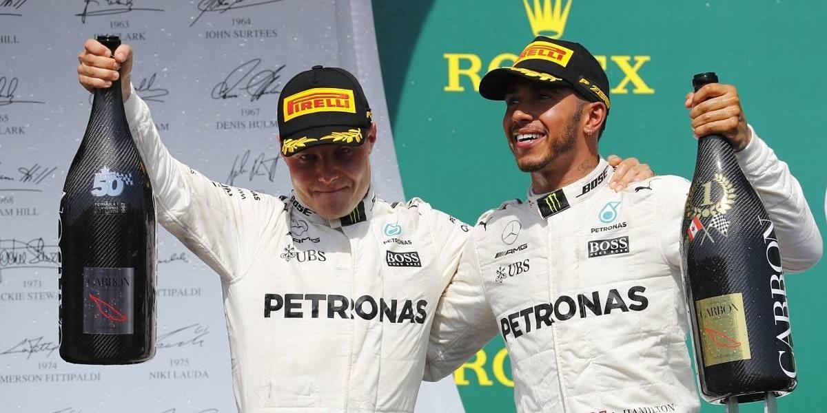 Hamilton celebró alcanzar a Senna con una contundente victoria en Montreal