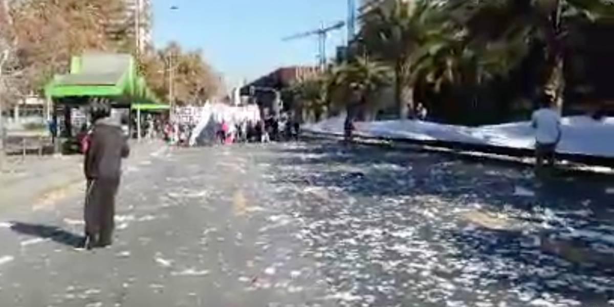 Hinchas de Colo Colo protagonizaron marcha contra Blanco y Negro en Plaza Italia