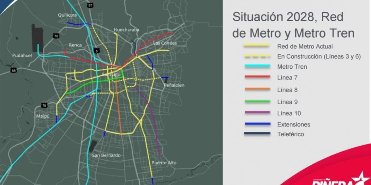 Nuevas líneas del Metro y auge de los tranvías y teleféricos: las claves de Piñera para sepultar el Transantiago