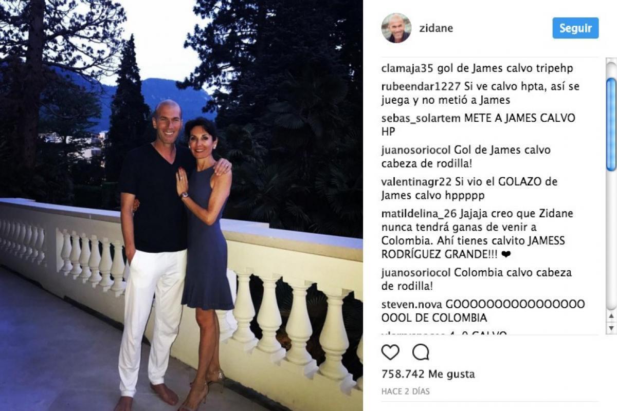 Insultos a Zinedine Zidane por gol de James a Camerún Instagram