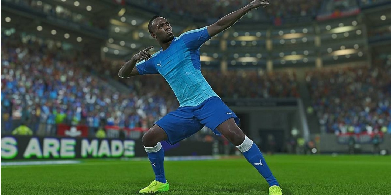 Usain Bolt jugando futbol en el videojuego.