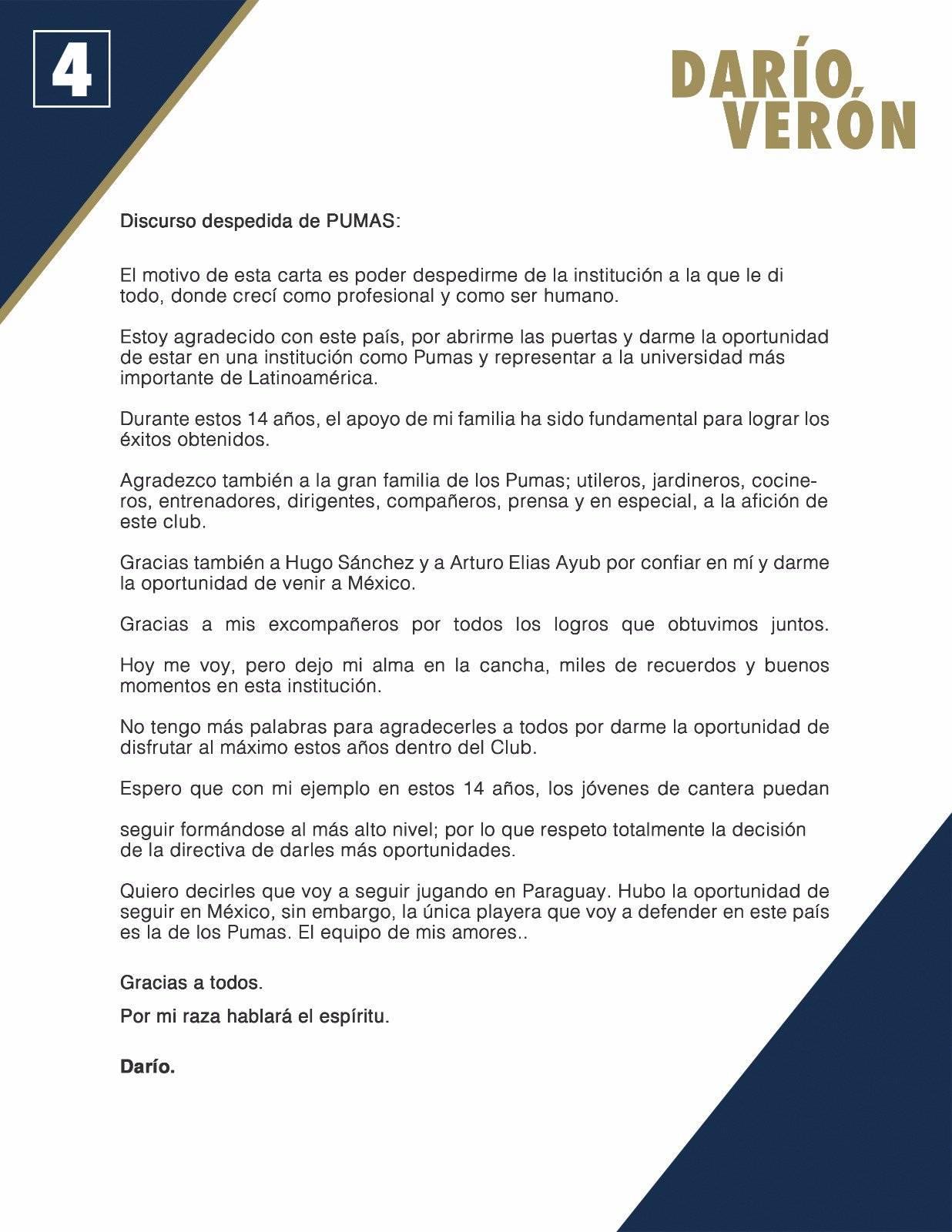 Darío Verón se despide de los Pumas de la UNAM