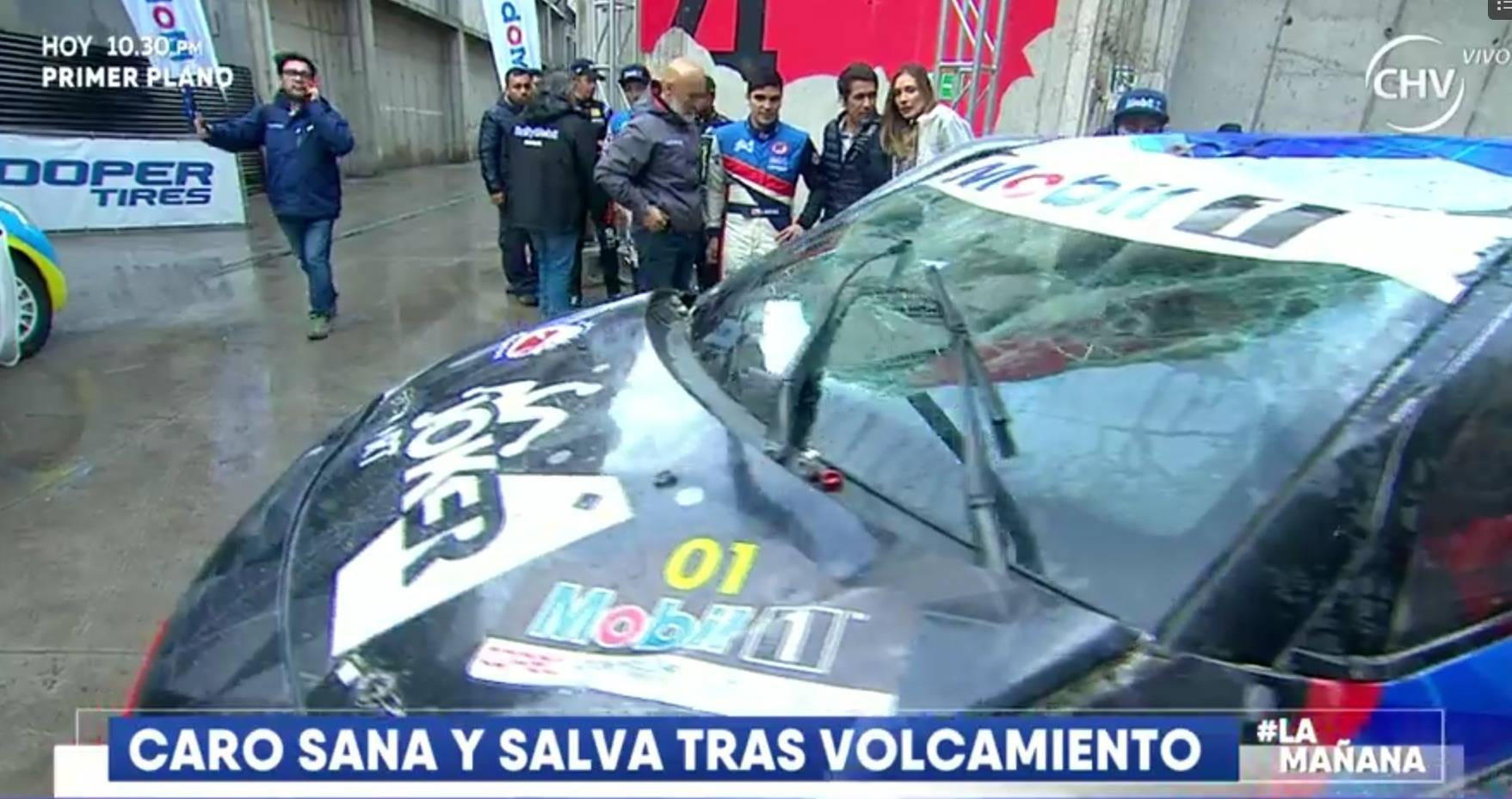 Carola de Moras sufre accidente automovilístico en auto de Rally Mobil