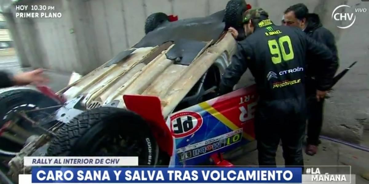 Carolina De Moras se volcó en auto de rally