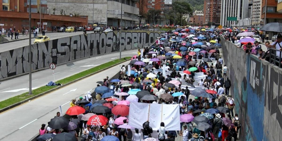 Los cierres viales por las manifestaciones estudiantiles de Bogotá este miércoles