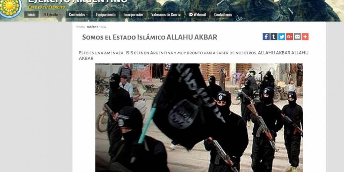 """Hackean página oficial del Ejército transandino: """"Esto es una amenaza ISIS está en Argentina"""""""