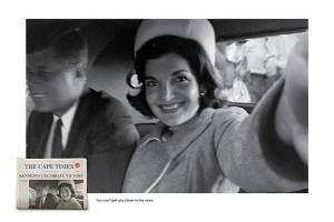 John Kennedy com a sua mulher, Jackie, comemorando a vitória da eleição para presidente dos EUA