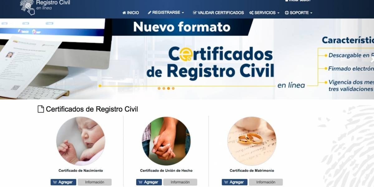 Certificados del Registro Civil se podrán solicitar en internet ...