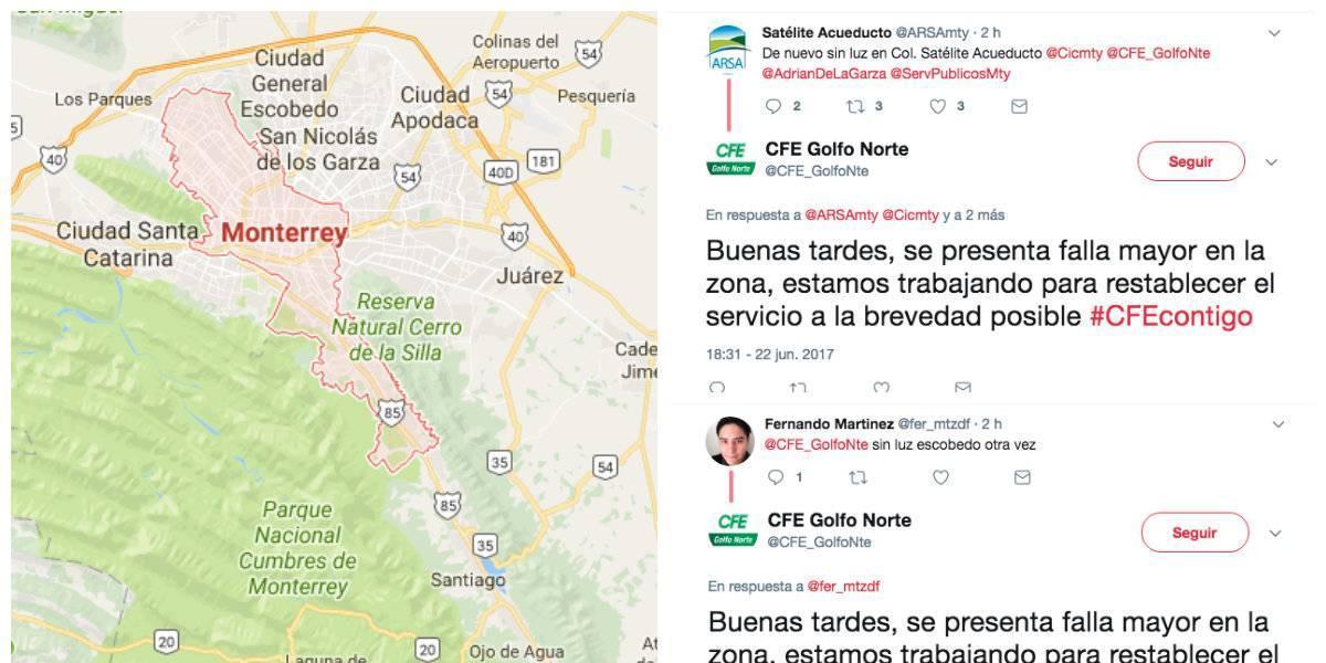 Apagón afecta a varias colonias de la Zona Metropolitana de Monterrey