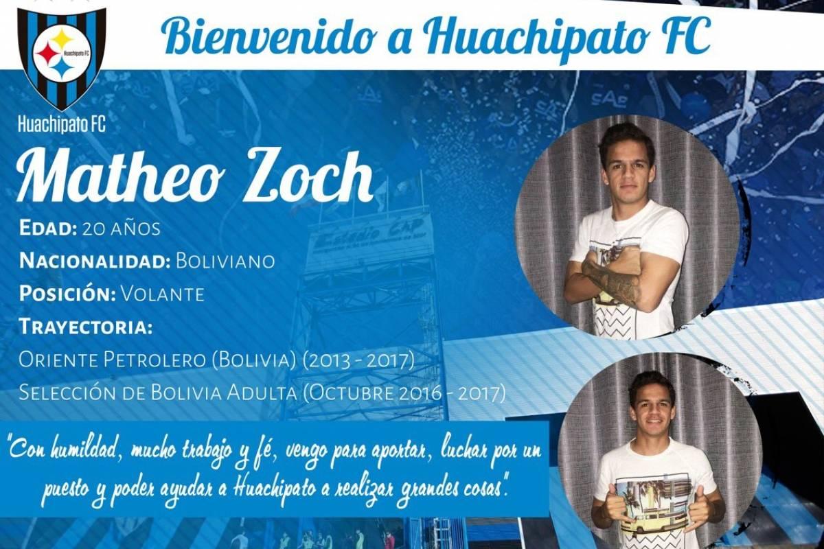 Matteo Zoch: Huachipato sigue confiando en los jugadores jóvenes por lo que para este torneo de Transición firmó con este volante boliviano de 20 años. El jugador proviene desde Oriente Petrolero y es seleccionado nacional de su país y será uno de los nombres a seguir este semestre.