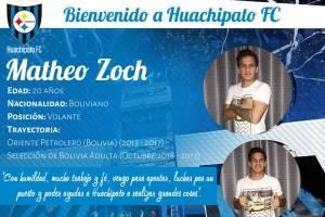 Matteo Zoch: Huachipato sigue confiando en los jugadores jóvenes por lo que para este torneo de Transición firmó con este volante boliviano de 20 años. El jugador proviene desde Oriente Petrolero y es seleccionado nacional de su país y será uno de los nom