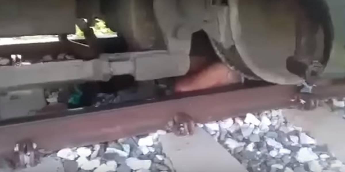 Sobrevivió tras pasarle un tren por encima en Santa Marta